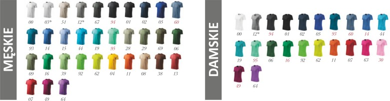 Kolorystyka koszulek Basic